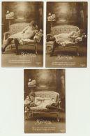 Lot De 3 Cartes -Reviens.... - Bellezza Femminile Di Una Volta < 1920