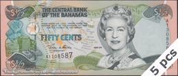 TWN - BAHAMAS 68 - ½ Dollar L.2000 (2001) DEALERS LOT X 5 - Prefix A UNC - Bahamas
