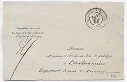 AUBE - 1893 - LETTRE SANS CORRESPONDANCE En FRANCHISE De NOGENT SUR SEINE => COULOMMIERS - Marcophilie (Lettres)