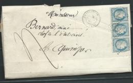 Lsc De Chateaulin ( Gc 932) Bande De 3 Du N° 37  Insufisement Affranchie Au 3è échelon Le 5/09/1871   -  LL17203 - Posttarife