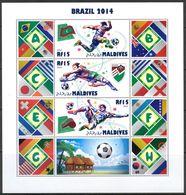 Soccer World Cup 2014 - MALDIVES - Sheet MNH - Coppa Del Mondo
