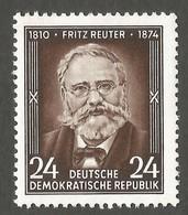 East Germany/DDR. 1954 The 80th Anniversary Of The Death Of Fritz Reuter. SG E184. CV £2.50. MNH - [6] Repubblica Democratica
