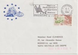 """Service                  """" STRASBOURG  SESSION Du PARLEMENT Européen """"  FLAMME Et Cachet CONSEIL DE L'EUROPE 13/2/1984 - Lettres & Documents"""