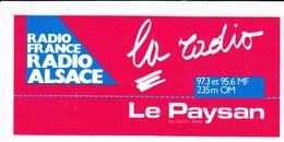 Autocollant -  RADIO FRANCE - RADIO ALSACE - LA RADIO LE PAYSAN DU HAUT RHIN 97.3 - Autocollants