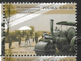 POLAND, 2019, MNH,200th ANNIVERSARY OF ESTABLISHMENT OF CENTRAL ROAD ADMINISTRATION IN POLAND, STEAM ROLLERS, 1v - Stamps