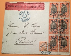 """1er Vol"": HANOI 1929 Cachet ""PREMIER VOYAGE POSTAL PAR AVION INDOCHINE"" (lettre Indo-China First Flight Cover Canton - Indochina (1889-1945)"