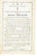 Faire-part Décès THYS 1820-1876 - Gérard DETHIER - Président Du Conseil De Fabrique - Obituary Notices