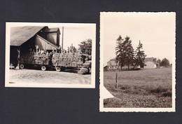 Photo Originale Lot De 2 Scoutisme Longeville Les Metz Camp De Louveteaux  à Hesse Moselle Ferme Remorque Paille 1963 - Scoutisme