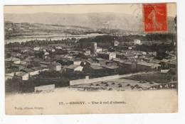 """GRIGNY Rhone, Vue à Vol D'oiseau,, Cachet  A2 1907, Semeuse 10c Rouge N°138 1A, Impression """"""""""""""""""""""""""""""""""""""""""""""""""""""""""""""""lourde"""""""""""""""""""""""""""" - Grigny"""