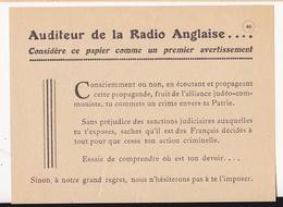 Au Plus Rapide France Période Etat Français Maréchal Pétain Tract De Propagande - 1939-45