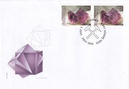 Slovenia Slovenie Slowenien 2001 Fdc Cover: Mi 345-6; Minerals Fossils; Fluorit; Škofja Loka Cancellation Mine - Geologie