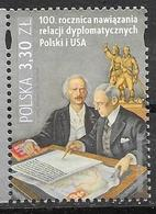 POLAND, 2019, MNH,100th ANNIVERSARY OF ESTABLISHMENT OF DIPLOMATIC RELATIONS WITH THE USA, 1v - Stamps