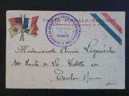 CARTE En FRANCHISE MILITAIRE  - Carte Postale Réponse - Service De Garde Des Voies De COMMUNICATION - Marcophilie (Lettres)
