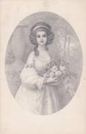 Jeune Femme S Portant Un Panier De Roses -style Viennoise-  (lot Pat 103) - Frauen