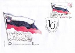 Slovenia Slovenie Slowenien 2001 FDC Cover: Slovenia National Flag; Hymn; 10 Years Of Independance - Briefmarken