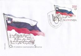 Slovenia Slovenie Slowenien 2001 FDC Cover: Slovenia National Flag; Hymn; 10 Years Of Independance RARE - Briefmarken