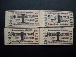 4 Tickets De Métro Neuf . S 090 F . - Metropolitana