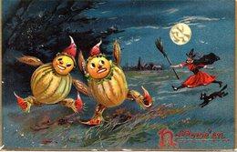 HALLOWEEN - PUMPKINS - BLACK CAT - WITCH - N 029 - Halloween