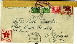 GUERRA CIVIL 1936 NOVELDA  FRENTE POPULAR CARTA CON VIÑETA  Hasta  BAIXAS (F) EL671 - 1931-50 Briefe U. Dokumente