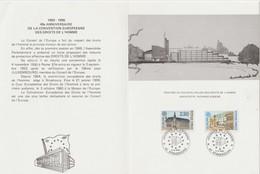 """TIMBRES Sur Encart        """" STRASBOURG  40éme  Anniversaire De La Convention Européenne """"  Cachet Temporaire 5/5/1990 - Lettres & Documents"""