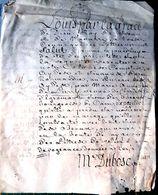 14 CAEN PARCHEMIN 17 'DEMANDE D'ANNULATION DE DEROGEANCE PAR LA DAME DE LURRY VEUVE D'EGREMONT DOCUMENT  AUTHENTIQUE - Manuscripts