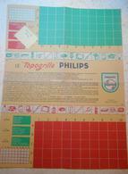 """PHILIPS - Jeu Le """"TOPOGRILLE""""  - 40 X 30 Cm-recto Verso - 1960 - Publicités"""