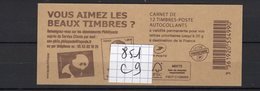 Carnet Marianne CIAPPA Lettre PRIORITAIRE N° 851 C 9 - Carnets