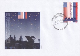 Slovenia Slovenie Slowenien 2001 FDC Cover: National Flags Of USA And Russia; Bush Putin Meeting In Ljubljana Dragon - Briefmarken