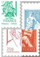 Lot De 4 Blocs Quart De Timbres D'usage Courant Avec Vignette - Documenten Van De Post