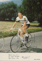 CARTE CYCLISME ROGER PINGEON SIGNEE TEAM PEUGEOT 1972 - Cyclisme