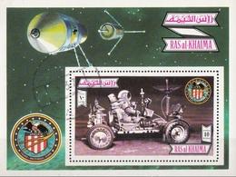 Ras Al Khaima 1972 Bf. 131A Spazio Apollo 16 Lunar Rover Vehicle Moon Luna Sheet Perf. CTO - Ra's Al-Chaima