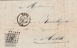 Leopold I, 10cts Grijs - Brief  L141 Gent-Aalst - 10/1/67 - 1865-1866 Profil Gauche