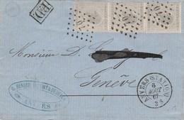 Leopold I, 10cts Grijs - Brief  L70 Antwerpen - Geneve Zwitserland, 6/8/67 - 1865-1866 Profile Left