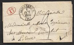 1834 LAC SAINT SERNIN ( AVEYRON ) Type 13. 1d Taxe En Rouge - 1801-1848: Precursori XIX