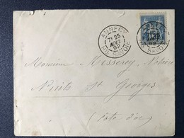 Lettre Annecy Timbre Type Sage Haute-Savoie 1892 - Poststempel (Briefe)