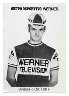 CARTE CYCLISME ANDRES GANDARIAS TEAM WERNER 1972 SERIE PAPIER 9,5 X 13,5 - Cyclisme