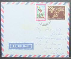 Rwanda - Cover To Belgium 1972 Flag Olympic Games Wrestling - Ruanda