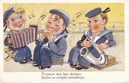 Harmonica Accordeon  Music  Marin   Illustrateur  Old  Postcard  1950 - Musique Et Musiciens
