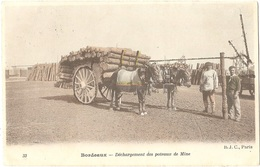 33 - BORDEAUX - Déchargement Des Poteaux De Mine - (carte Colorisée + PAILLETTES) - B.J.C., N° 33 - Thème Transport Bois - Bordeaux