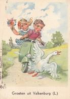 Moto Vespa Scooter Humor Enfant  Duck By Niko   Old  Postcard  1960 - Motos