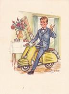 Moto Vespa Scooter Humor  Man By Hanizsch   Old  Postcard - Motos