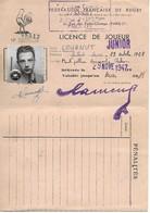 Rugby, Federation Française, Licence De Joueur, Junior, Montpellier Université Club, 1948    (bon Etat) - Rugby