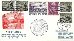 Luxembourg  -  Poste-Aérienne   -   1.4.1958 - AIR-FRANCE - Inaugural Polar Service - 2 Scans - Covers & Documents