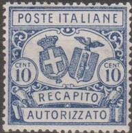 Italia 1928 Recapito Autorizzato 10 Cent. D.14 MLH/* Vedere Scansione - 9. WW II Occupation (Italian)