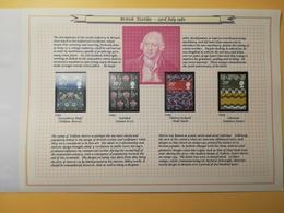 PAGINA PAGE ALBUM GRAN BRETAGNA GREAT BRITAIN 1982 BRITISH TEXTILES TESSILI DESCRIZIONE PAGES WITH DESCRIPTION - Collezioni