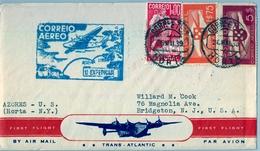 1939 PORTUGAL , HORTA - BRIDGETON , CORREO AÉREO , PRIMER VUELO , TRÁNSITO DE NEW YORK , LLEGADA - Horta