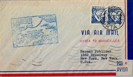 1939 PORTUGAL , HORTA - NEW YORK , CORREO AÉREO , PRIMER VUELO ,  TRÁNSITO DE MARSELLA - Horta