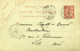 Carte Postale 10c Mouchon HIRSON AISNE 3 Décembre 1903 Pour LILLE REPIQUAGE Fonderie Acier Fonte - Biglietto Postale