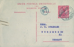 1912 PORTUGAL , ENTERO POSTAL CIRCULADO FUNCHAL - NÜREMBERG - Postal Stationery