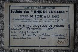 Carte Permis De Peche Pont St Esprit Lamotte Sur Rhone - Documenti Storici
